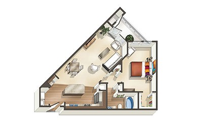 The Coral - 1 bedroom floorplan layout with 1 bath and 770 square feet