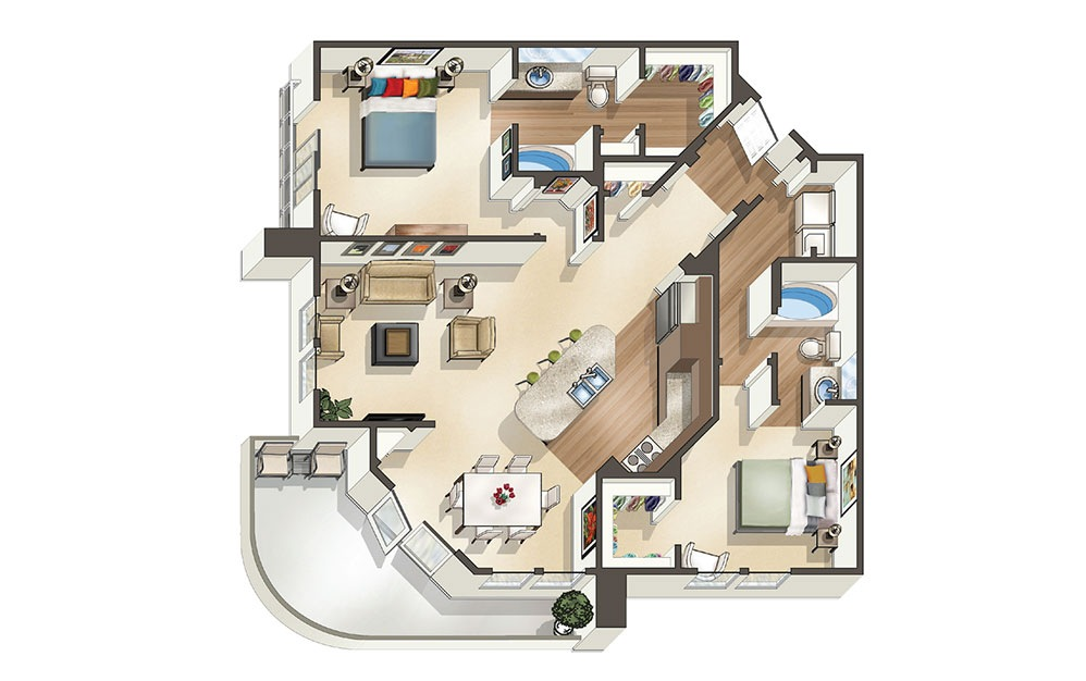 The Cosmopolitan - 2 bedroom floorplan layout with 2 bath and 1,220 to 1281 square feet (1st floor 2D)
