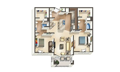 The Driftwood - 2 bedroom floorplan layout with 2 bath and 1,020 to 1178 square feet
