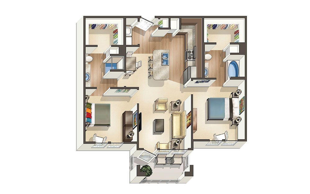 The Driftwood - 2 bedroom floorplan layout with 2 bath and 1,020 to 1178 square feet (1st floor 2D)