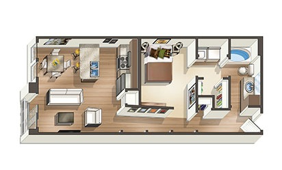 The Bayfront - 1 bedroom floorplan layout with 1 bath and 720 to 868 square feet
