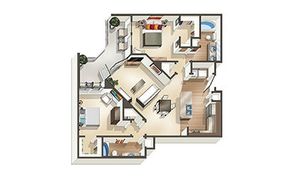 The Oceanaire - 2 bedroom floorplan layout with 2 bath and 1,098 square feet