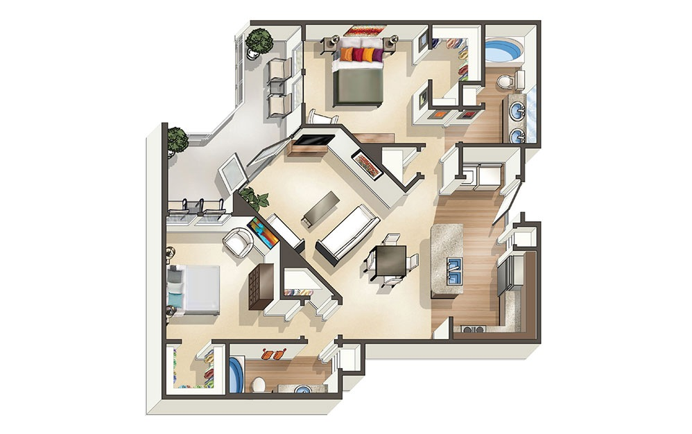 The Oceanaire 2 Bedroom & 2 Bathroom Apartment Floor Plan At The Cosmopolitan Apartments In Corpus Christi, TX