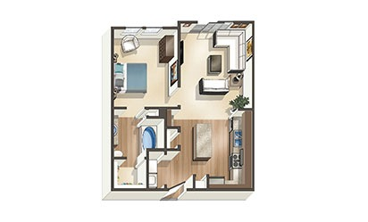 The Palm - 1 bedroom floorplan layout with 1 bath and 669 to 788 square feet