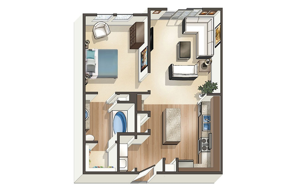 The Palm - 1 bedroom floorplan layout with 1 bath and 669 to 788 square feet (1st floor 2D)