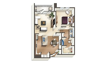 The Sands - 1 bedroom floorplan layout with 1 bath and 806 to 832 square feet
