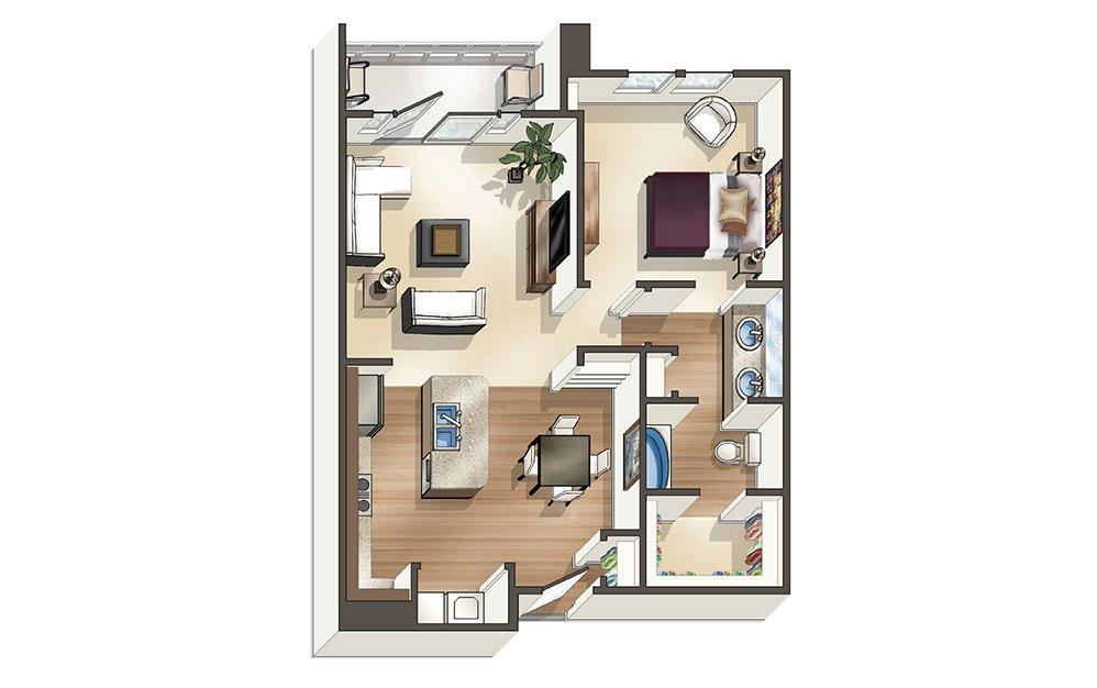 The Sands 1 Bedroom & 1 Bathroom Apartment Floor Plan At The Cosmopolitan Apartments In Corpus Christi, TX